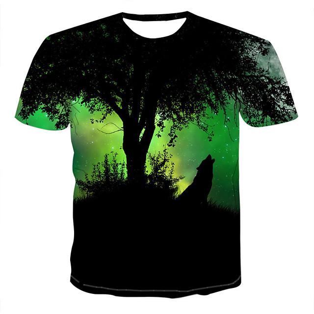 Homme T shirt 3D Animal Imprimé Hauts Vert