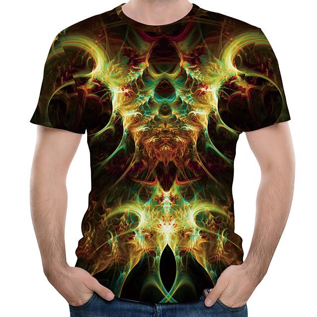 남성용 T 셔츠 그래픽 3D 플러스 사이즈 프린트 탑스 면 블랙