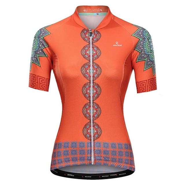 Malciklo Femme Manches Courtes Maillot Velo Cyclisme Orange Floral Botanique Cyclisme Maillot Hauts / Top VTT Vélo tout terrain Vélo Route Respirable Séchage rapide Design Anatomique Des sports