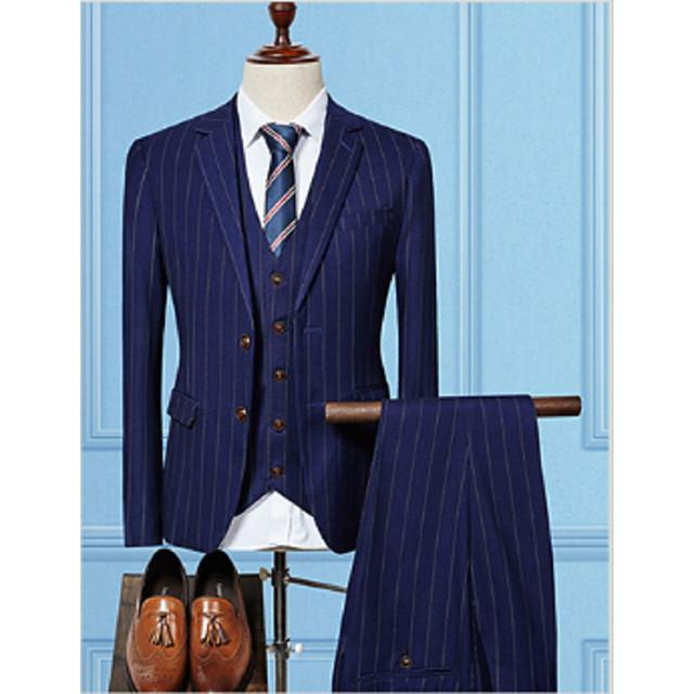 Noir / Rouge Bordeaux / Bleu Marine Rayé Coupe Sur-Mesure Coton Costume - Cranté Droit 2 boutons / costumes