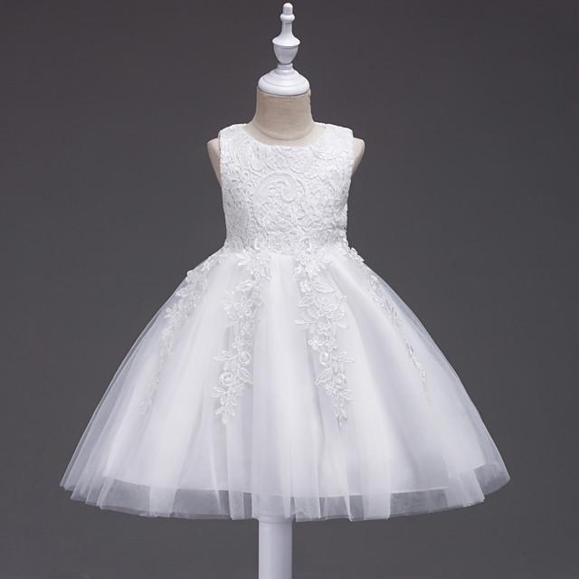 Princesse Midi Mariage / Communion / Anniversaire Robes de demoiselle d'honneur - Dentelle / Tulle Sans Manches Bijoux avec Dentelle / Noeud(s) / Appliques
