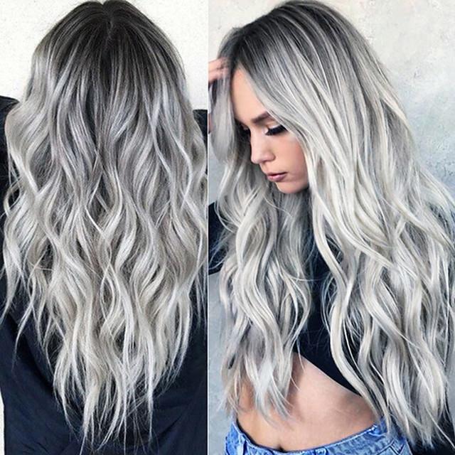 perruque synthétique ondulée partie médiane perruque longue gris / rose / marron / vert / vin cheveux synthétiques 24 pouces femmes design à la mode femmes