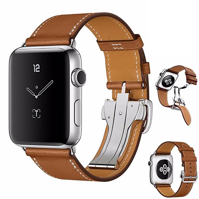 Watch Band na Apple Watch Series 4 Jabłko Zapięcie motylkowe Prawdziwa skóra Opaska na nadgarstek