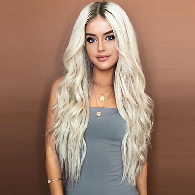 Perruque Synthétique Ondulé Coupe Asymétrique Perruque Blond Court Or clair Cheveux Synthétiques 26 pouce Femme Soirée Blond