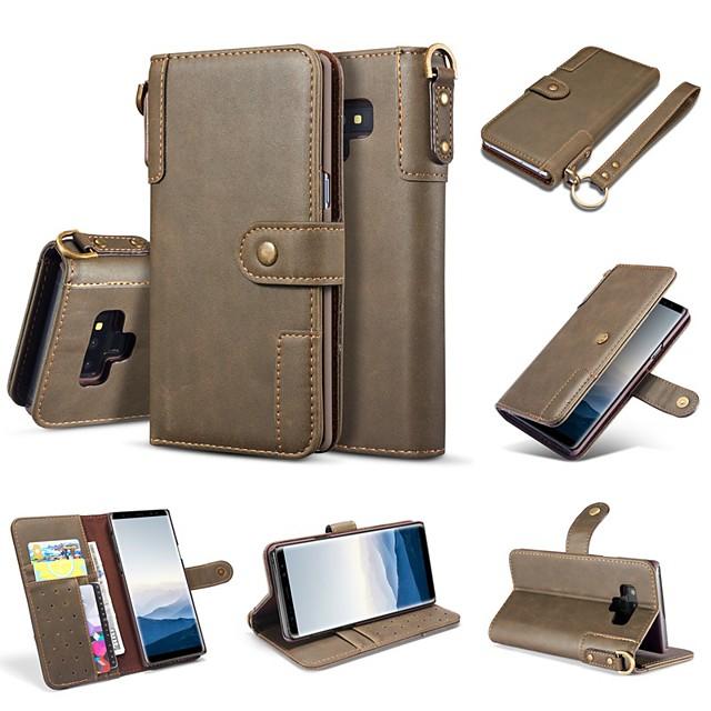 Coque Pour Samsung Galaxy Note 9 / Note 8 Portefeuille / Porte Carte / Avec Support Coque Intégrale Couleur Pleine Dur Cuir véritable
