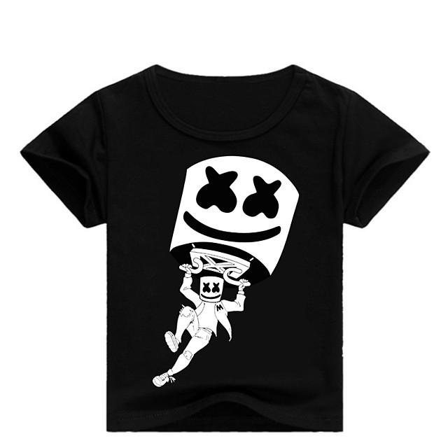 Enfants Bébé Garçon Tee-shirts Imprimé Imprimé Manches Courtes basique Blanche Noir Bleu