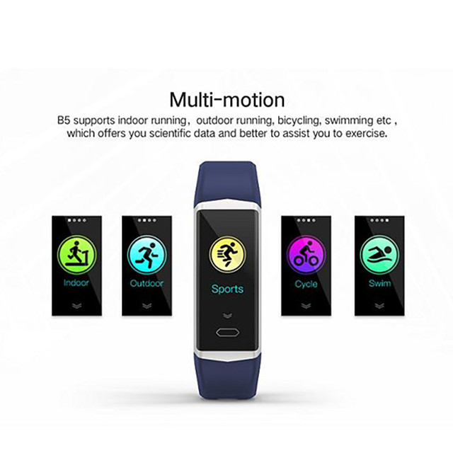 b5 bracelet intelligent bluetooth fitness tracker support notifier / moniteur de fréquence cardiaque sport smartwatch étanche compatible avec téléphones iphone / samsung / android