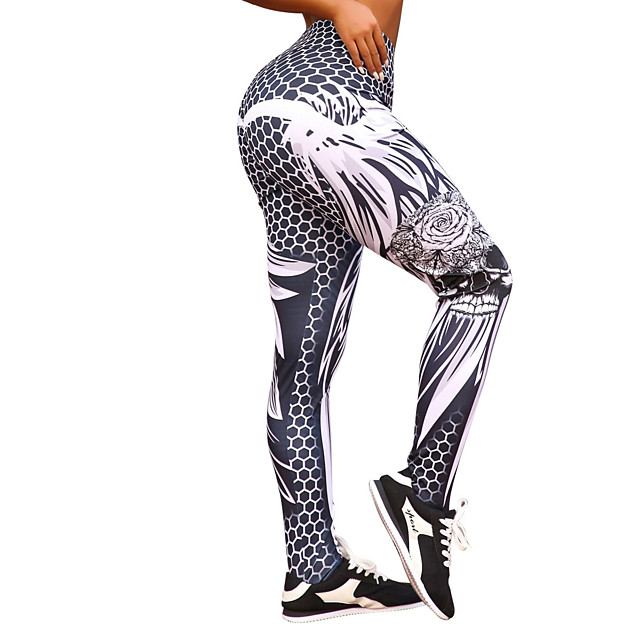 Femme Taille haute Pantalon de yoga Legging Butt Lift Evacuation de l'humidité Noir Entraînement de gym Course / Running Fitness Des sports Tenues de Sport Haute élasticité Slim