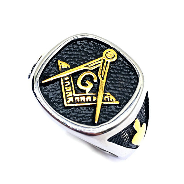 Herre Ring Masonic Rings 1pc Sort Rustfrit Stål Daglig Gade Smykker