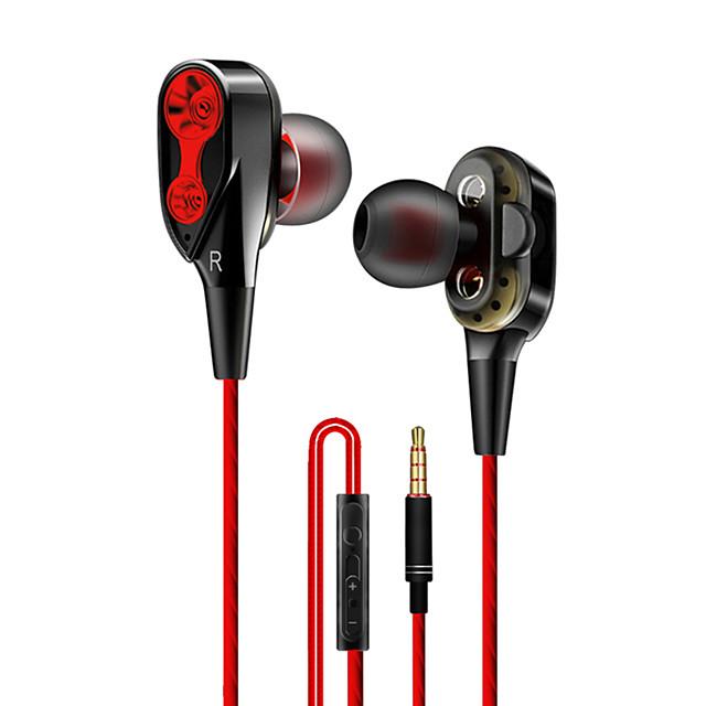 LITBest Wired earphone High bass dual drive stereo Cablu de intrare în ureche Cablu Cu Microfon Cu controlul volumului Controlul telefonului Telefon mobil