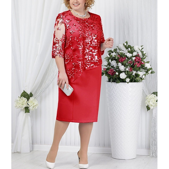 Women's Plus Size Dress Shift Dress Knee Length Dress Blue Red Light Blue Half Sleeve Solid Color Paisley Formal Style Lace Fall Summer Round Neck For Mother / Mom L XL XXL 3XL 4XL 5XL