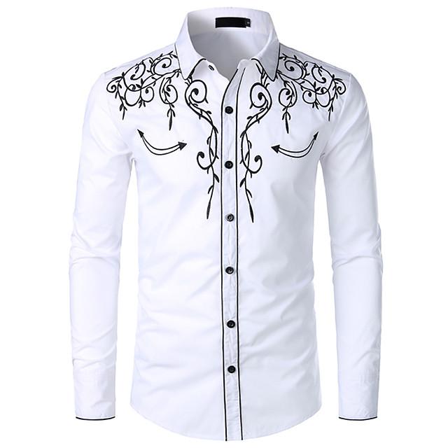 Veličina EU / SAD Majica Muškarci - Kaubojski / Tradicionalni / klasični Pamuk Color block / Grafika Klasični ovratnik Vezeno Crn