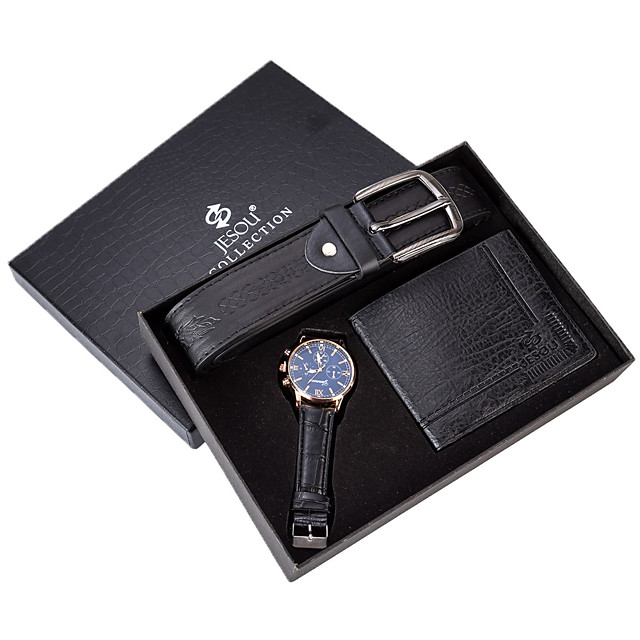 رجالي ساعة فستان كوارتز مجموعة هدية كاجوال الكرونوغراف مماثل أسود / أزرق أسود أسود / أبيض / سنتان / جلد / طرد كبير / سنتان