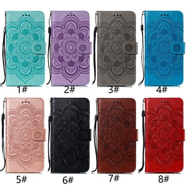 Кейс для Назначение SSamsung Galaxy A5(2018) / A6 (2018) / A6+ (2018) Бумажник для карт / со стендом / Флип Чехол Цветы Твердый Кожа PU