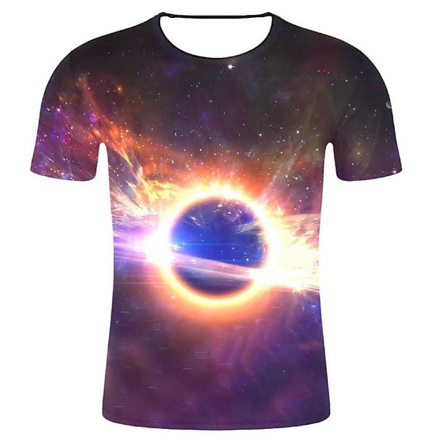 Homme T shirt Galaxie Graphique 3D Grandes Tailles Imprimé Hauts Coton Violet
