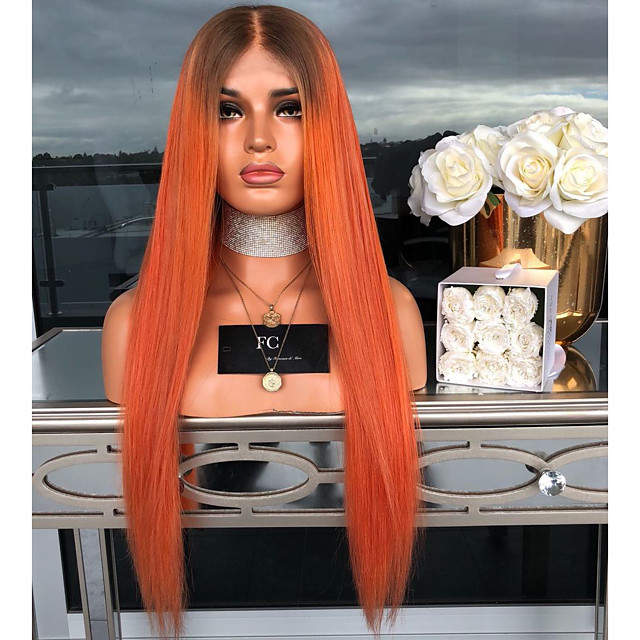 Sentetik Peruklar Kinky Düz Orta kısım Peruk Ombre Uzun Turuncu Sentetik Saç 26 inç Kadın's Kadın Ombre