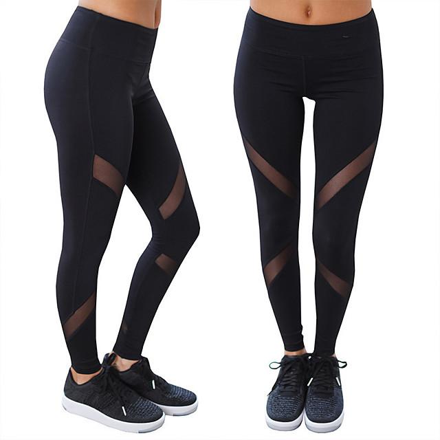 Femme Taille haute Pantalon de yoga Noir Maille Elasthanne Bas Sport Tenues de Sport Butt Lift Evacuation de l'humidité Elastique