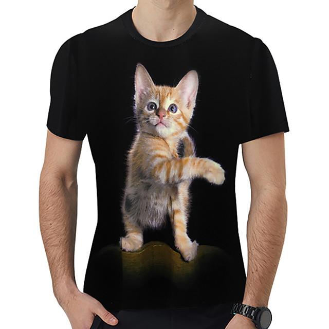 Homme T shirt 3D Bande dessinée Animal Imprimé Hauts Noir