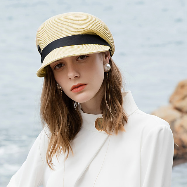 Polyester Straw Hats with Braided Strap 1pc Casual / Daily Wear Headpiece