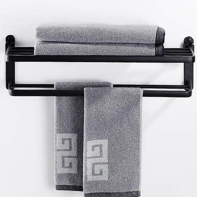 espace sans perforation étagère de salle de bain en aluminium porte-serviettes pliable mural 2 niveaux noir mat