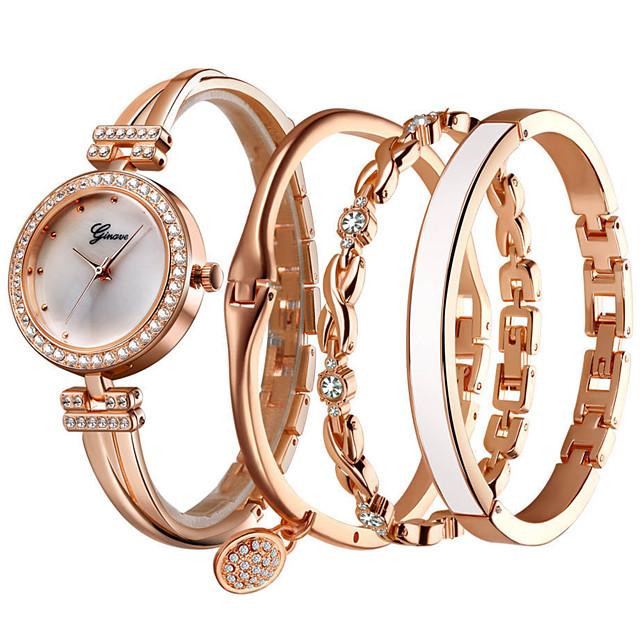Dames Armbandhorloge Quartz Horloge Kwarts Cadeauset Elegant Chronograaf Analoog Rose Goud Wit Zilver / Een jaar / imitatie Diamond / Een jaar