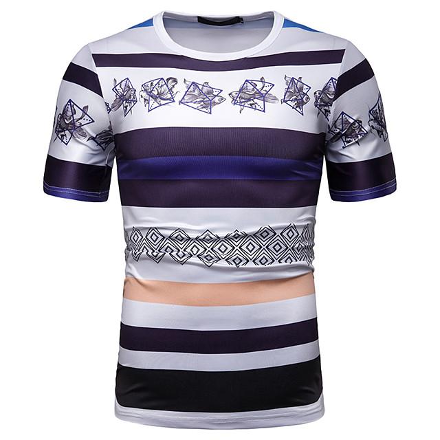 Homme T shirt Rayé Graphique Fleurie Patchwork Imprimé Hauts Coton Blanche
