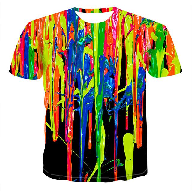 Herre Grafisk Simulering T-shirt Trykt mønster Toppe Rund hals Regnbue