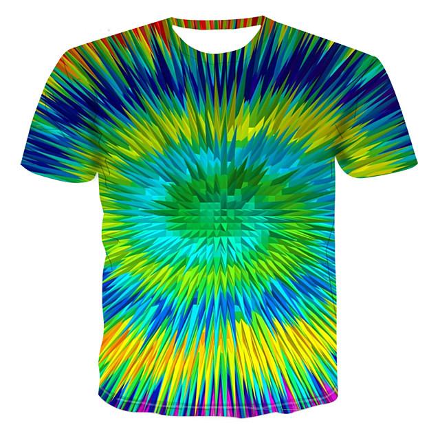 Homme T shirt Graphique Bloc de Couleur 3D Grandes Tailles Imprimé Hauts Chic de Rue Punk & Gothique Vert