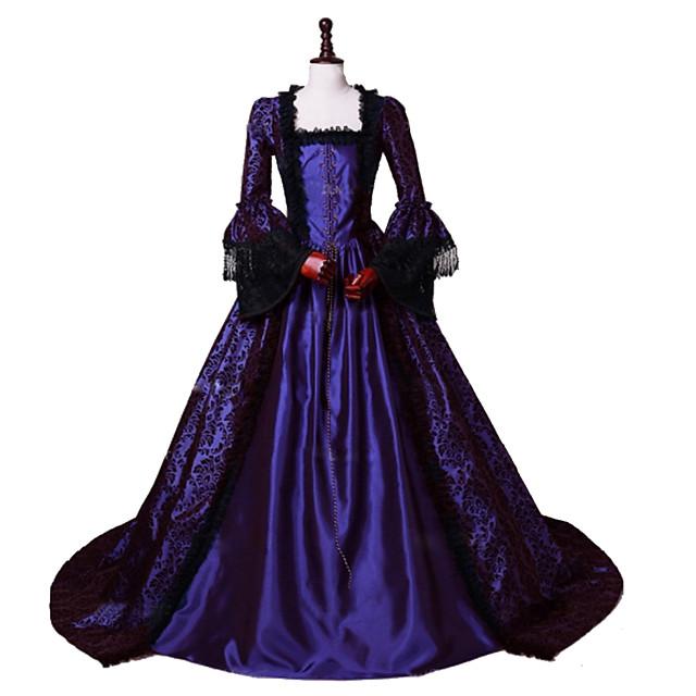 Da principessa Maria Antonietta Stile Floreale Rococò Vittoriano Rinascimentale vestito da vacanza Vestiti Vestito da Serata Elegante Stile Carnevale di Venezia Per donna Costume Viola Vintage Cosplay