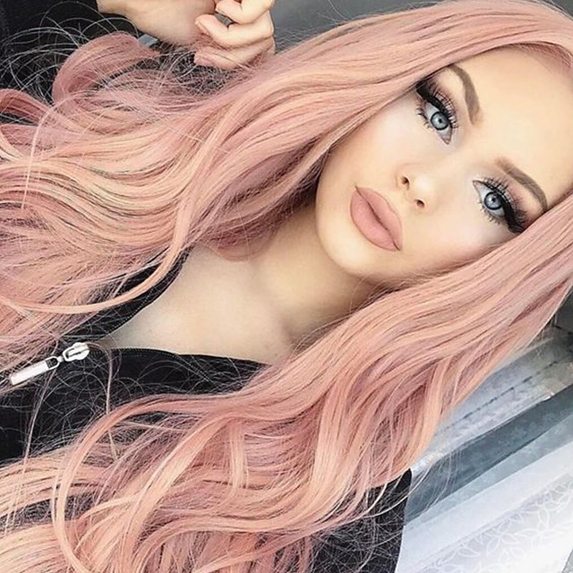 인조 합성 가발 곱슬한 바디 웨이브 밥 헤어컷 비대칭 헤어컷 중간 부분 가발 긴 핑크 퍼플 인조 합성 헤어 24 인치 여성용 합성의 자연 헤어 라인 중간 부분 핑크 HAIR CUBE / 흑인 가발