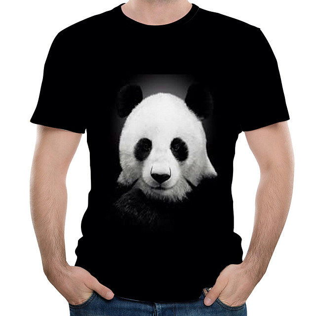 Homme T shirt 3D Animal Grandes Tailles Imprimé Hauts Coton Noir