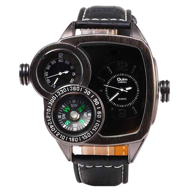 Oulm Bărbați Ceas Militar  Japoneză Quartz Clasic Piele Negru / Maro Draguț Busolă Zone Duale de Timp  Analog Vintage - Negru Rosu Maro Un an Durată de Viaţă Baterie