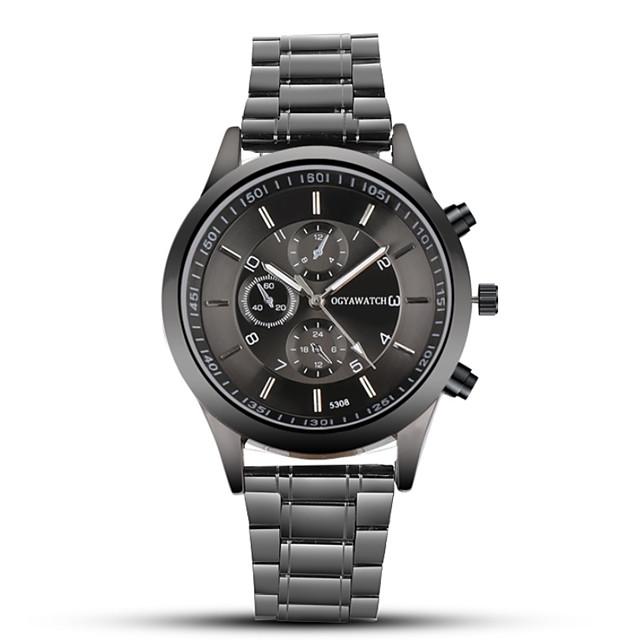 ogy เข็มขัดเหล็กสำหรับผู้ชายนาฬิกาสีดำธุรกิจชุดนาฬิกาควอทซ์