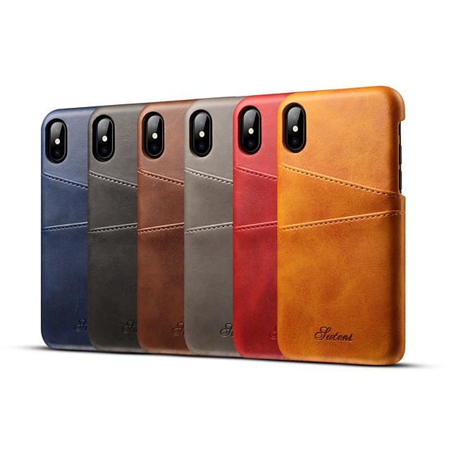 telefono Custodia Per Apple Per retro Custodia in pelle iPhone 12 Pro Max 11 SE 2020 X XR XS Max 8 7 6 Porta-carte di credito Tinta unica Resistente vera pelle