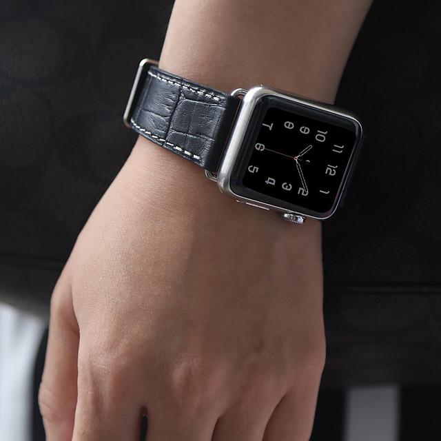 สายหนังจระเข้สำหรับนาฬิกา apple series smart watch series 4/3/2/1 สายรัดข้อมือ - ดำ