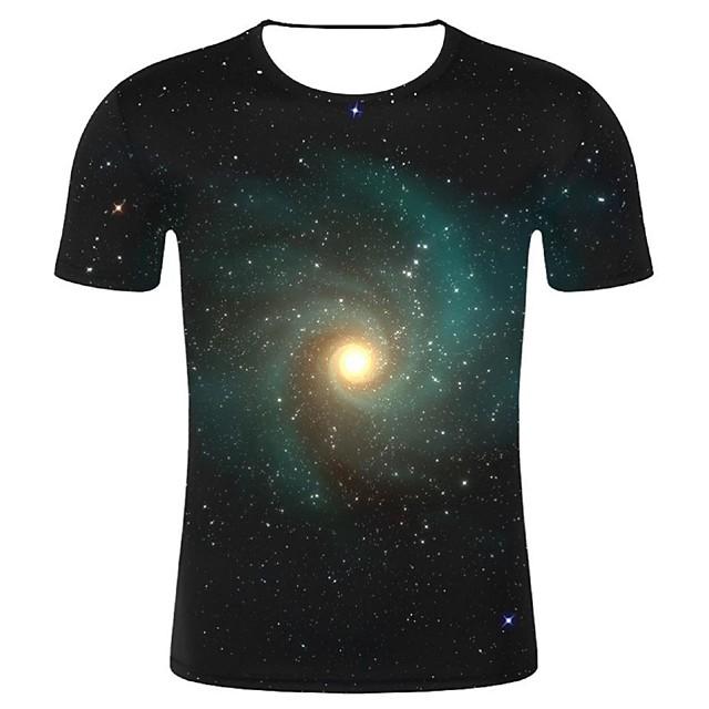 Homme T shirt Galaxie Graphique 3D Grandes Tailles Imprimé Hauts Coton Noir