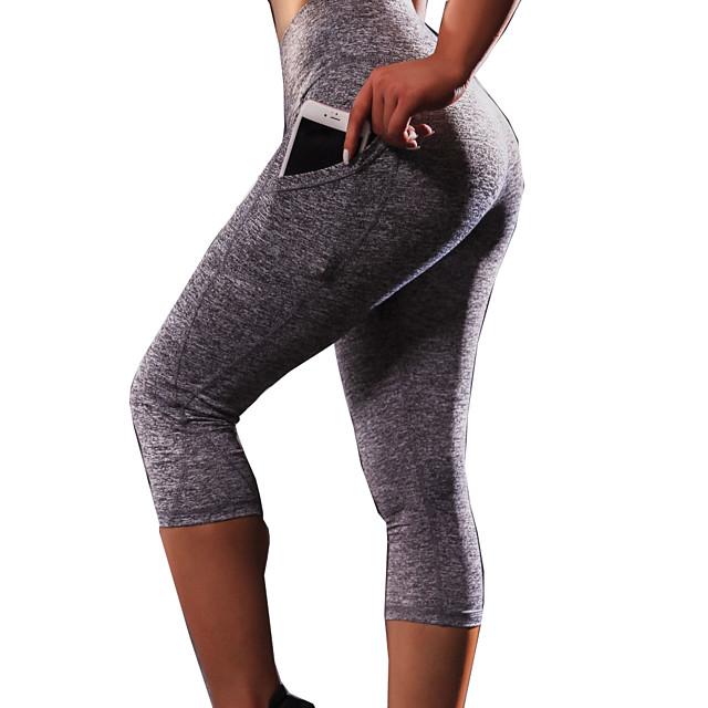 Femme Taille haute Pantalon de yoga Legging Capri Butt Lift Evacuation de l'humidité Noir Grise Course / Running Danse Fitness Des sports Tenues de Sport Haute élasticité Slim