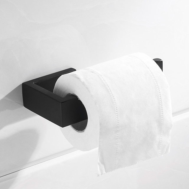 soporte para papel higiénico nuevo diseño rectángulo de metal solo barra de baño montado en la pared negro mate 1 pieza