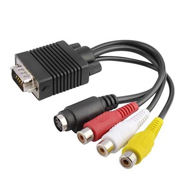 LITBest S-Video Adapterkabel, S-Video til VGA Adapterkabel Kvinne mann 1080P 0.2m (0.65Ft) 100Mbps
