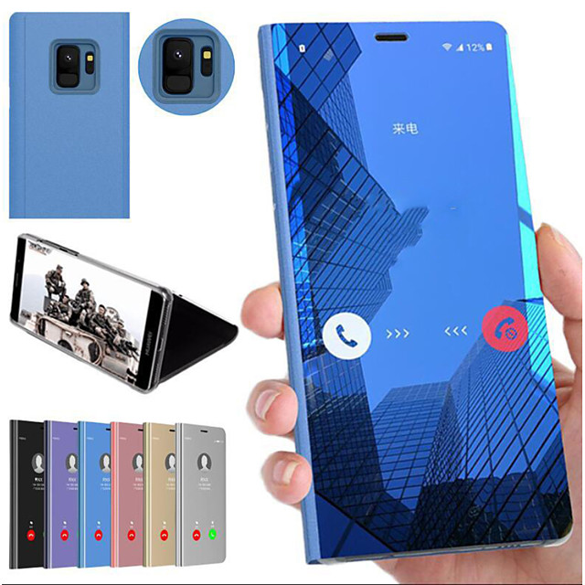 Кейс для Назначение SSamsung Galaxy Note 9 / Note 8 / Note 5 Edge Защита от удара / со стендом / Зеркальная поверхность Кейс на заднюю панель Однотонный Твердый ПК