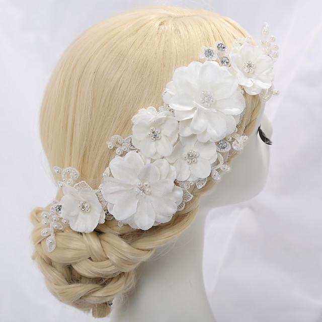 Acrylique / Strass / Alliage Fleurs avec Strass / Perle fausse / Fleur 1 Pièce Mariage Casque
