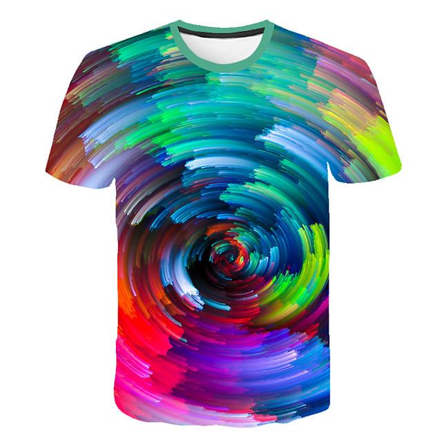 Homme T shirt Graphique Bloc de Couleur 3D Grandes Tailles Imprimé Hauts Arc-en-ciel