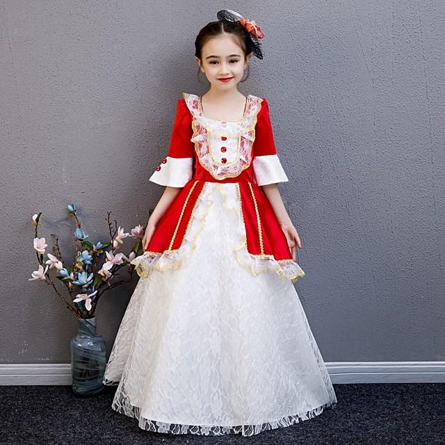 Princesse Maria Antonietta Rococo Victoriens Epoque Médiévale robe de vacances Robe Tenue Costume Robe de bal Fille Enfant Costume Rouge +Doré Vintage Cosplay Fête / Soirée Fête d'anniversaire