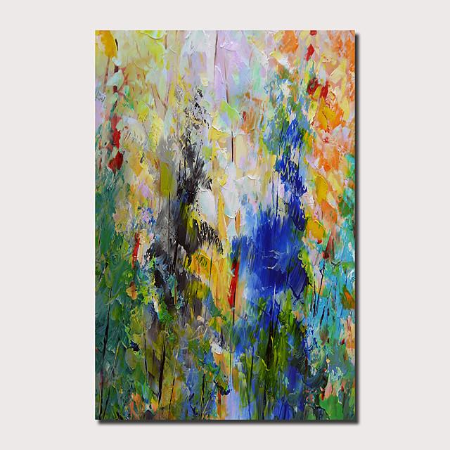 Peinture à l'huile Hang-peint Peint à la main Panoramique vertical Abstrait Paysage Contemporain Moderne Inclure cadre intérieur