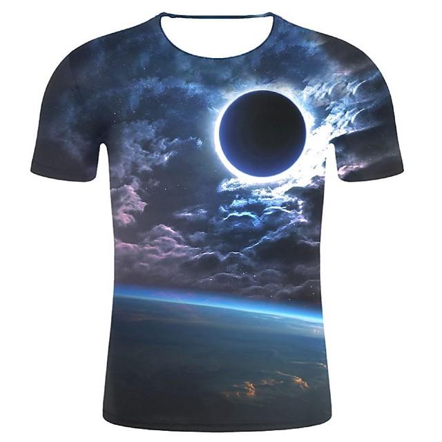 Homme T shirt Galaxie Graphique 3D Grandes Tailles Imprimé Hauts Coton Bleu Marine