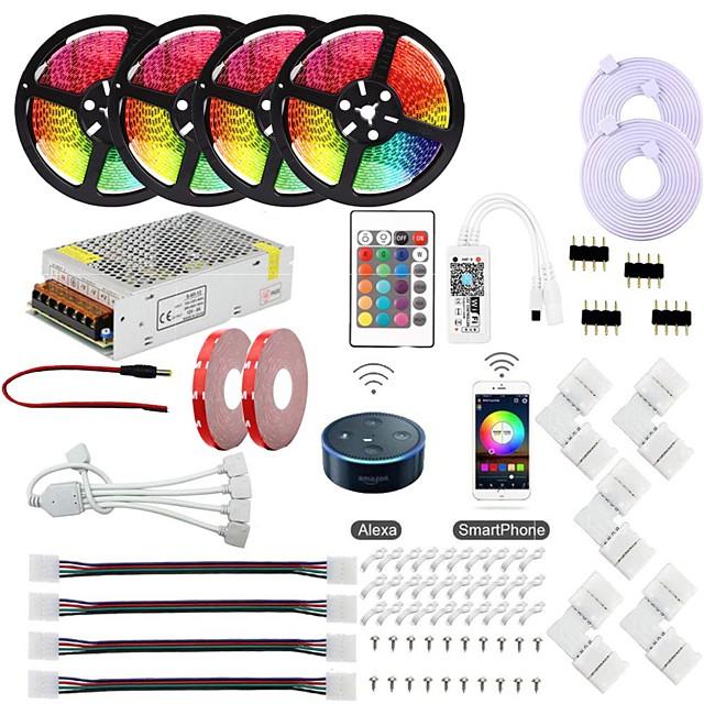 KWB 20m Bande lumineuse LED Ruban LED Ensemble de Luminaires Barrette d'Eclairage RGB Lumières intelligentes 600 LED SMD5050 10mm 1x 1 à 4 connecteur de câble 1Set Support de montage 1 set RGB Imperm