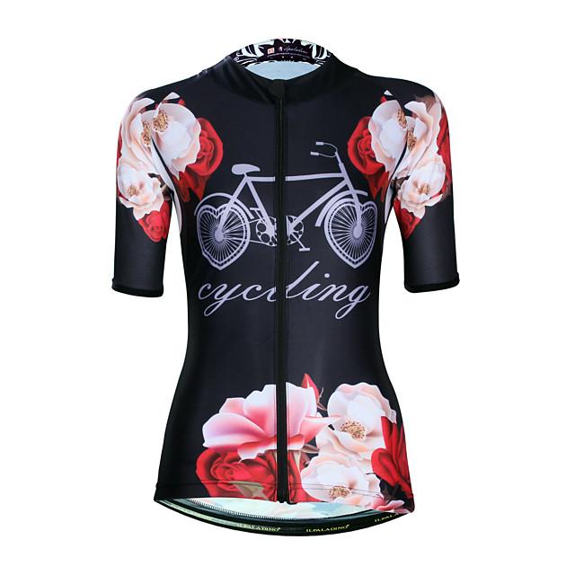 ILPALADINO Femme Manches Courtes Maillot Velo Cyclisme Elasthanne Noir Floral Botanique Cyclisme Maillot Hauts / Top Vélo Route Résistant aux UV Séchage rapide Evacuation de l'humidité Des sports