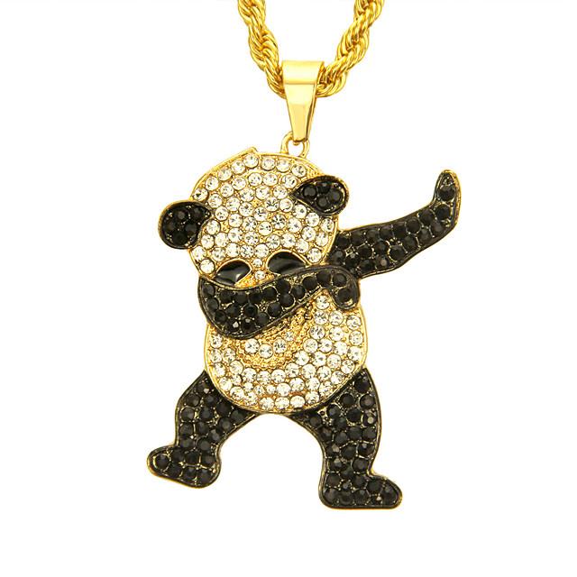 Herre Kubisk Zirkonium Anheng Halskjede Panda Europeisk trendy Rock Mote Chrome Gull Sølv 76 cm Halskjeder Smykker 1pc Til Daglig Gate Klubb