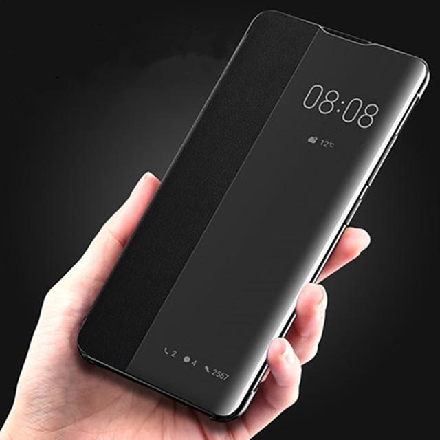téléphone Coque Pour Huawei Coque Intégrale Étui en cuir Etui folio Huawei P20 Huawei P20 Pro Huawei P30 Huawei P30 Pro Avec Ouverture Clapet Mise en veille automatique Couleur Pleine Dur faux cuir