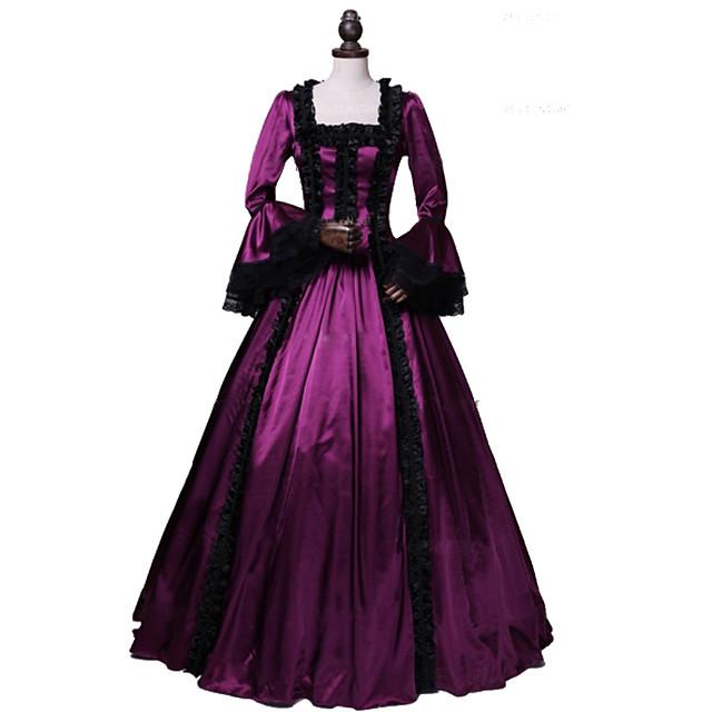 Princesse Maria Antonietta Rococo Victoriens robe de vacances Robe Costume de Soirée Costume Robe de bal Femme Coton Costume Rouge Vintage Cosplay Mascarade Soirée & Evénement Manches Longues